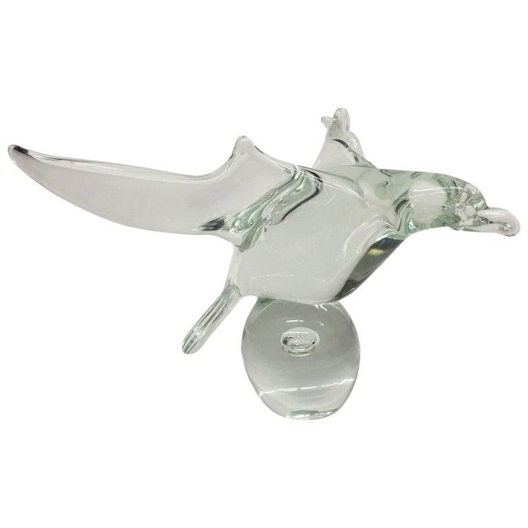 Licio Zanetti Exquisite Signed Murano Handblown Glass Dove Sculpture 70's Italy For Sale