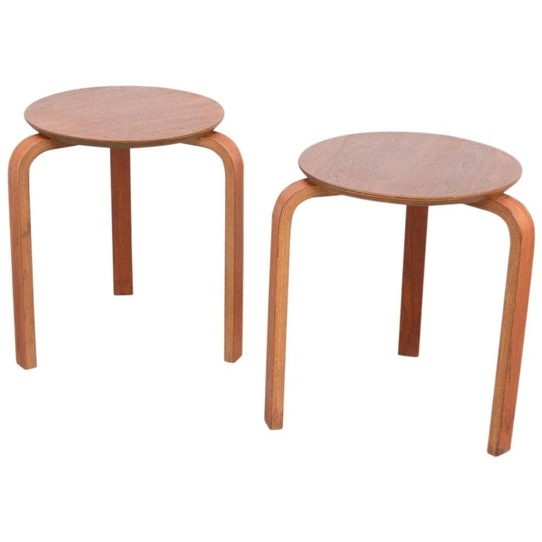Pair Of Danish Plywood Stools At 1stdibs