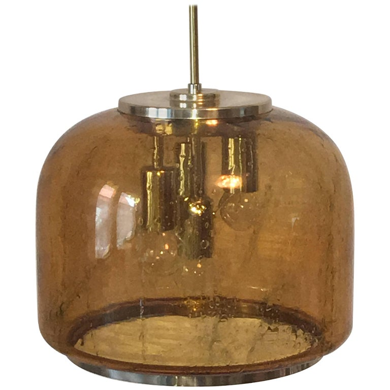 1960s Doria Honey Color Air Bubble Glass Pendent Chandelier