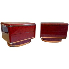 1970´s Italian End Tables in the Manner of Milo Baughman in Burl