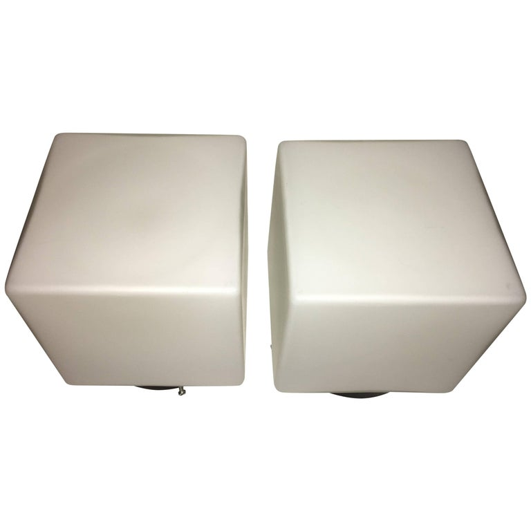 Pair of 1960s Italy Milk Glass Cube Flush Mount Stilnovo Style