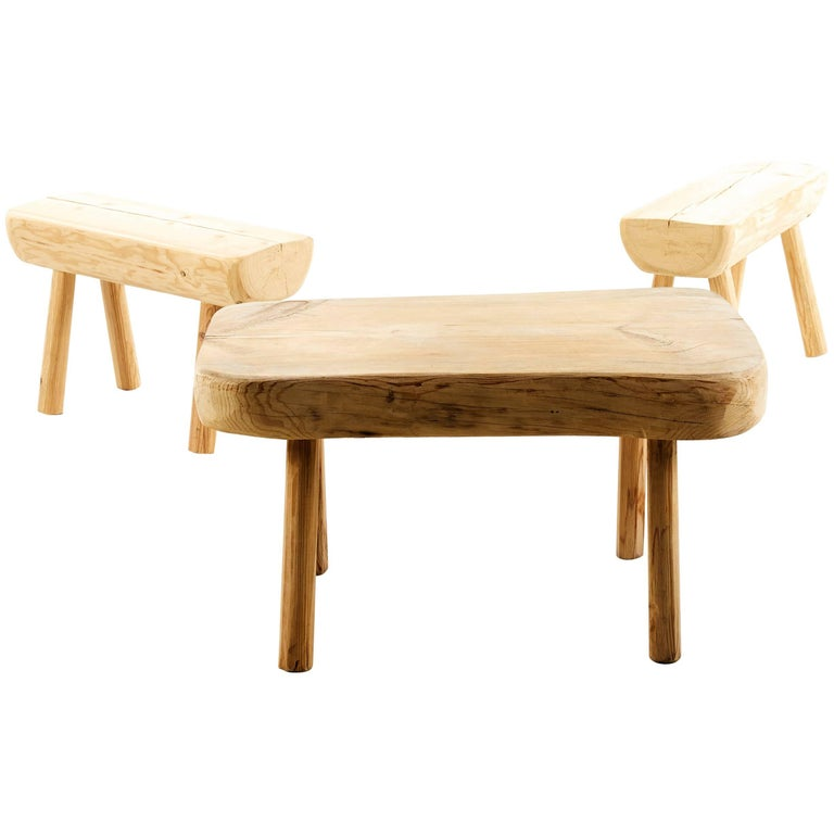 Swedish, Rustic Solid Wood Benches