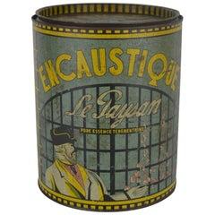Antique Tin Box Encaustique Le Paysan, France