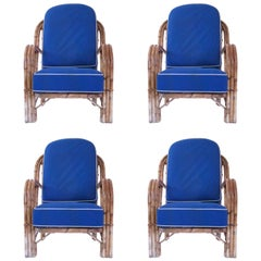 Audoux-Minet, Suite of Four Armchairs, Rattan, circa 1960, France