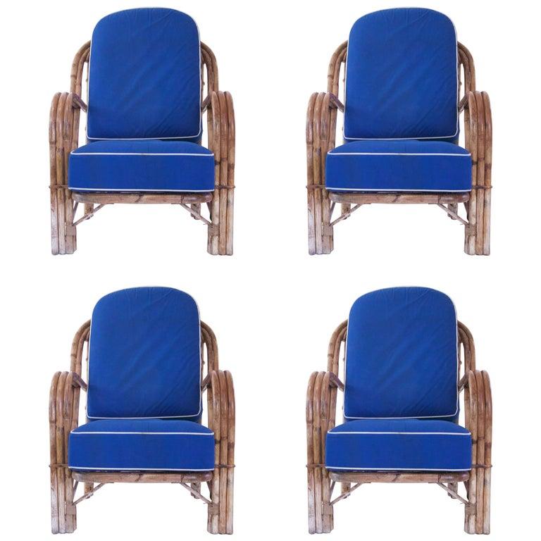 Audoux-Minet, Suite of Four Armchairs, Rattan, circa 1960, France For Sale