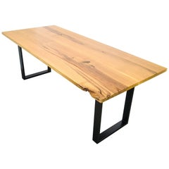 Natural Character Oak Slab Dining Table on Steel Box Base