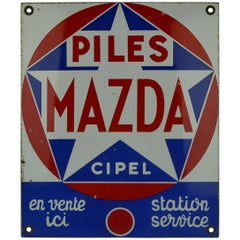 1960s Enamel Advertising Sign Mazda Piles