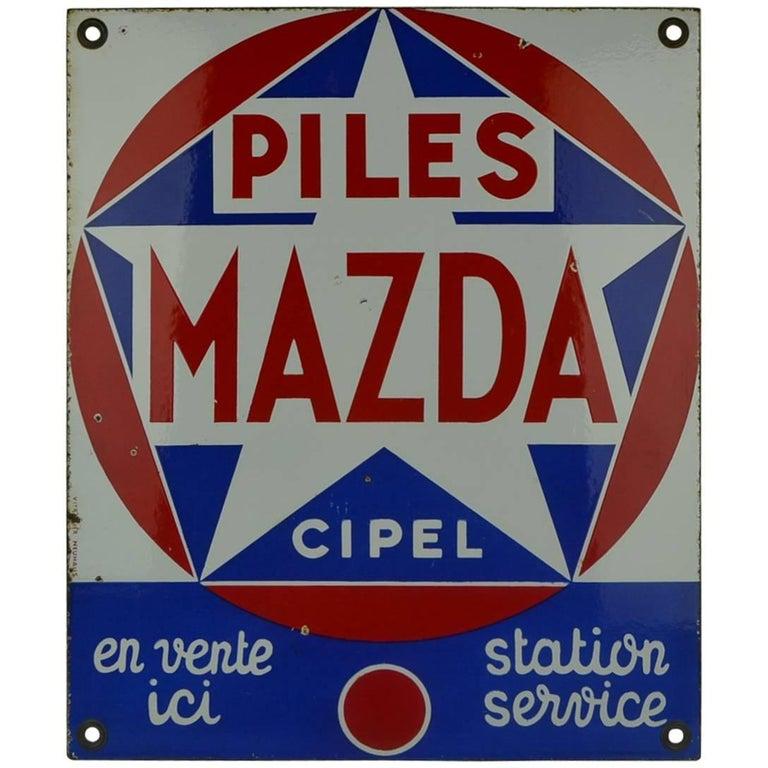 1960s Enamel Advertising Sign Mazda Piles