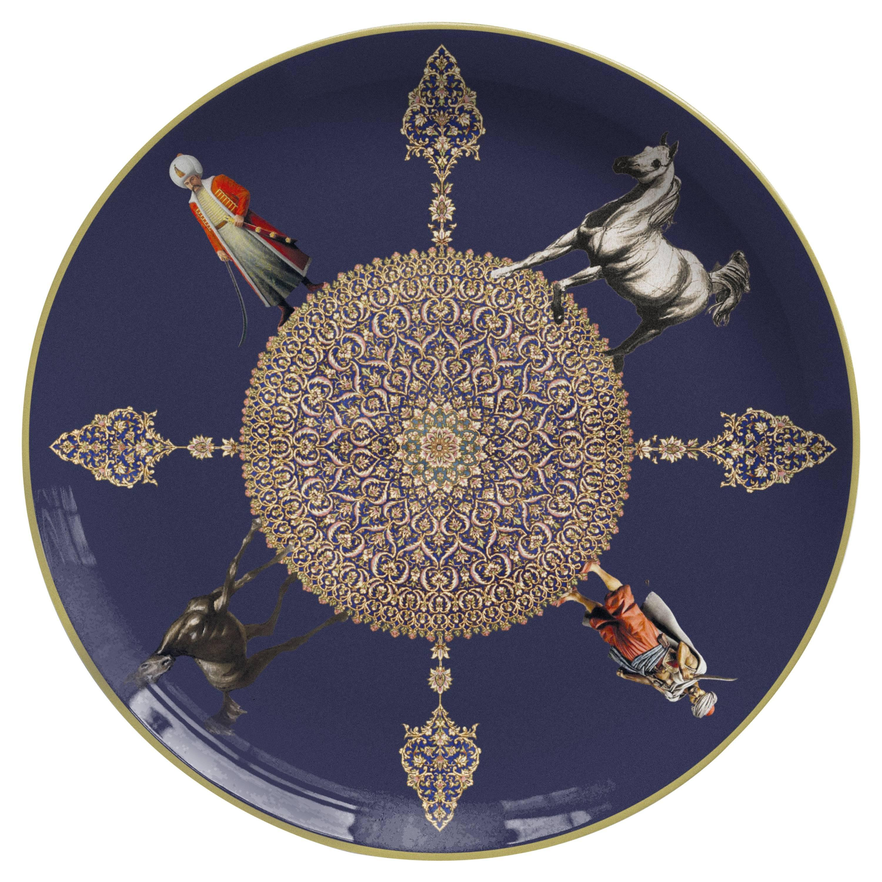 Duellanti Porcelain Dinner Plate by Vito Nesta for Les Ottomans, Made in Italy