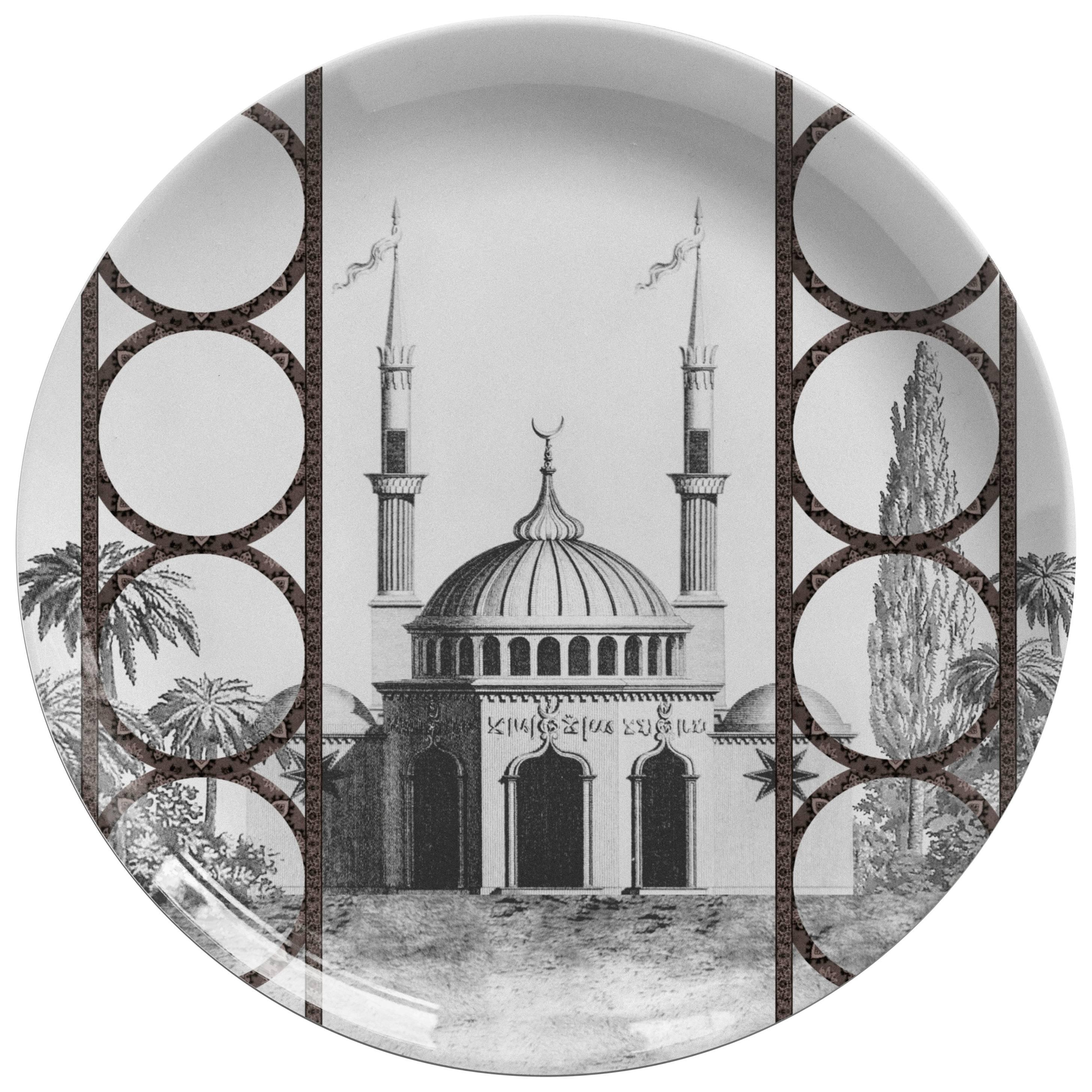 Toptaki Black Porcelain Dinner Plate by Vito Nesta for Les Ottomans
