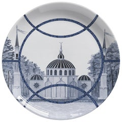 Toptaki Blue Porcelain Dinner Plate by Vito Nesta for Les Ottomans