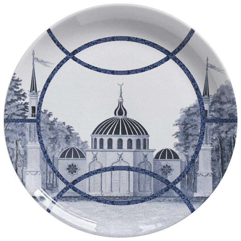Toptaki Blue Porcelain Dinner Plate by Vito Nesta for Les Ottomans For Sale
