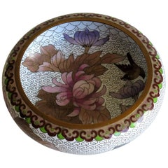 Chinese Cloisonné Bowl Peonies and Birds Ruji Head Border, Circa 1920