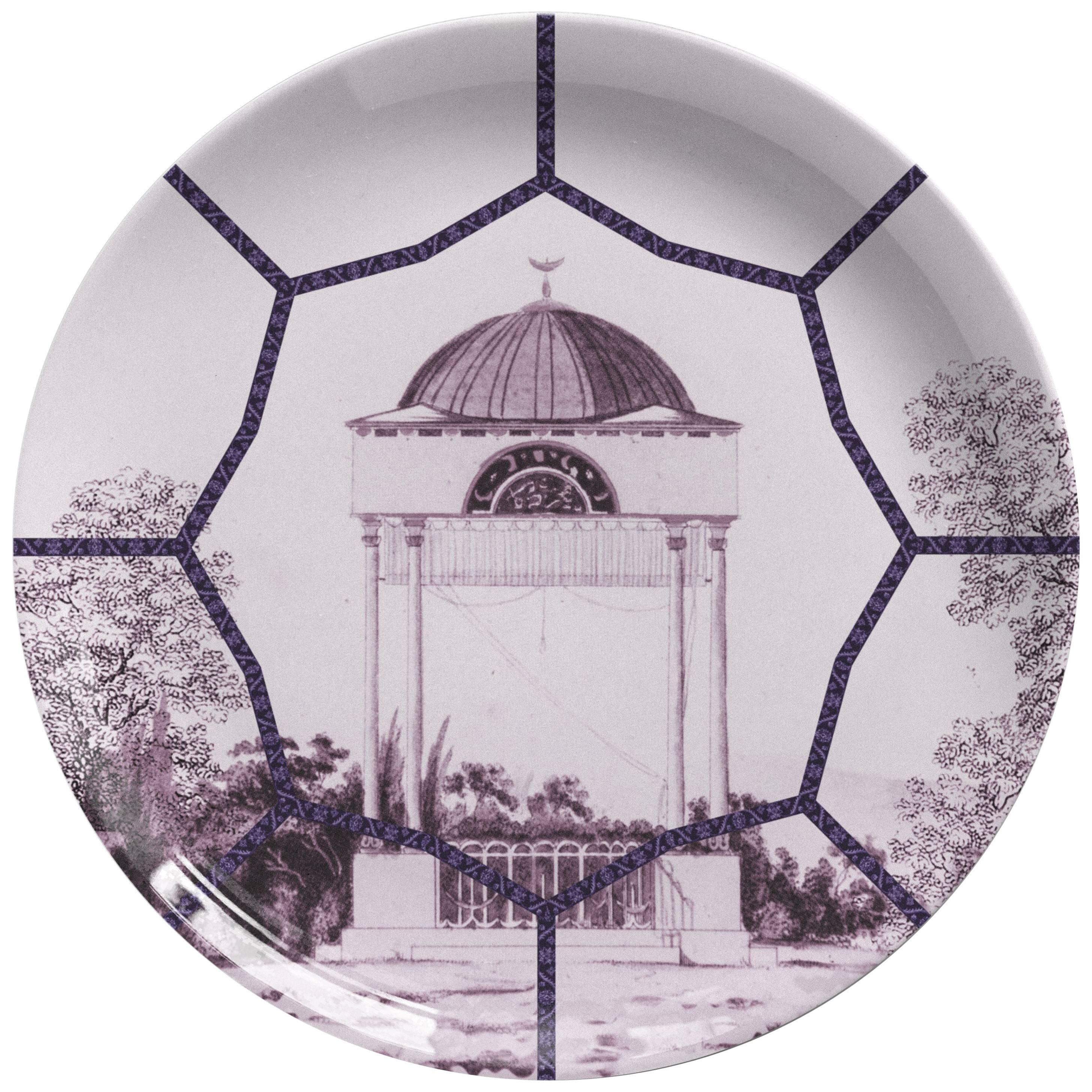 Toptaki Purple Porcelain Dinner Plate by Vito Nesta for Les Ottomans