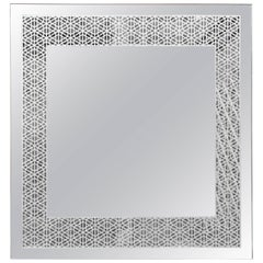 Granada Mirror, Square Etched Hand Gilded Silver Frameless