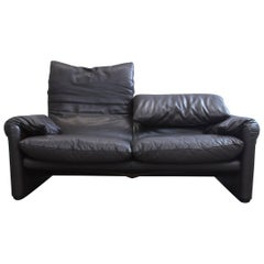 Cassina Maralunga Designer Sofa Mocca Brown Leather Two-Seat Function Modern