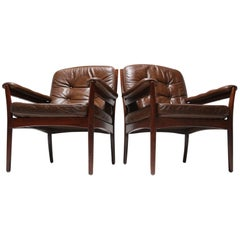 Pair of GöTe MöBler, Nässjö Leather and Rosewood Armchairs