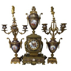 19th Century French Provincial Three-Piece Jeweled Clock Set