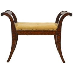Elegant 19th Century English Neoclassical Inlaid Mahogany Bench or Stool