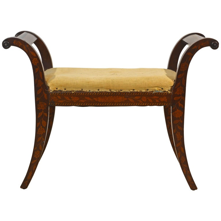 Elegant 19th Century English Neoclassical Inlaid Mahogany Bench or Stool For Sale