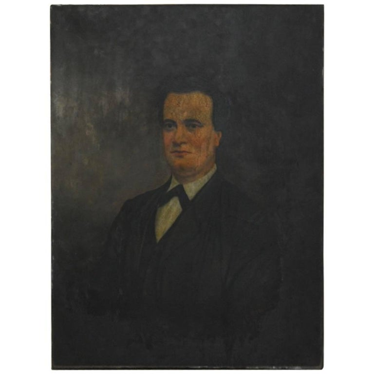19th Century English Portrait of a Gentleman Oil on Canvas