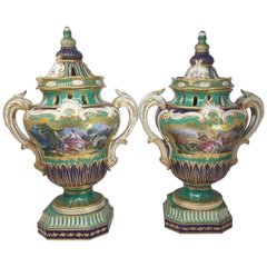 Pair of 19th Century French Provincial Sever Vases