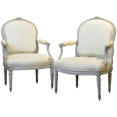 Pair of Late 19th Century, French, Louis XV Style Painted Open Armchairs