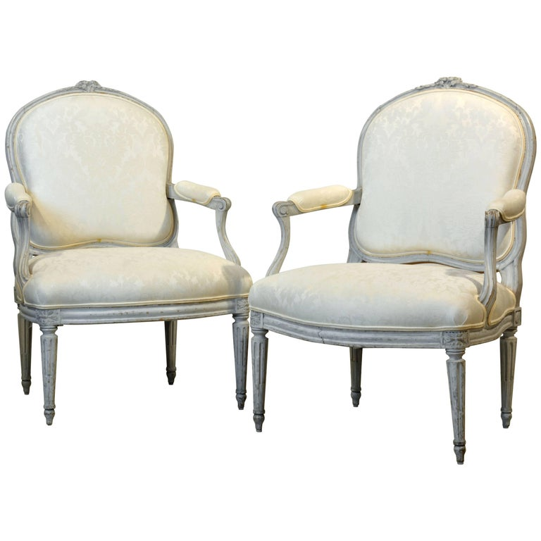 Pair of Late 19th Century, French, Louis XV Style Painted Open Armchairs 1