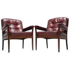 Gote Mobler Scandinavian modern leather armchairs