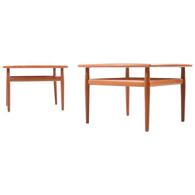 Pair of square Sofa Tables in Teak by Grete Jalk