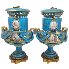 Pair of French Provincial 19th Century Porcelain Serve Vases, circa 1870