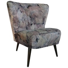 Adorable Armchair Cocktail from the 1950s with Graphic Velvet
