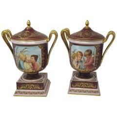 Pair of 19th Century Finely Painted Vienna Vases with Gilt Borders, circa 1880