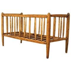 Master Handcrafted Brutalist Antique French Baby Bed or Cradle, France
