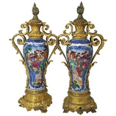 Pair of 18th Century Chinese Export Mandarin Vases, circa 1750