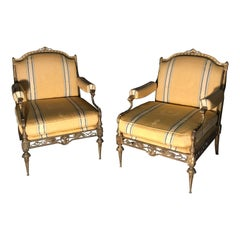 Exceptional Pair of Gilt-Bronze Armchairs