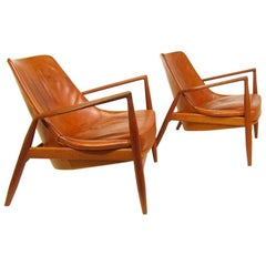 Two 1960s Seal Chairs by Ib Kofod-Larsen