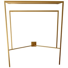 Console in Gold, Bronze Patina with tow Sycamore Shelves by Aymeric Lefort
