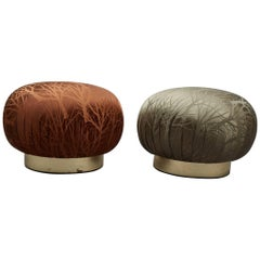Pair of Round Souffle Swivel Pouf Ottomans in the Manner of Karl Springer