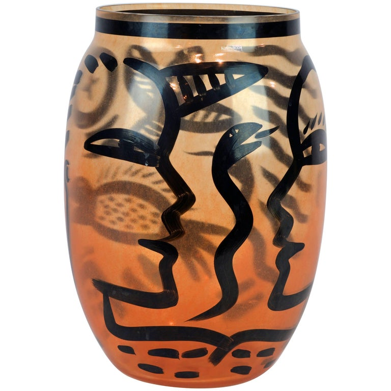 Tall Abstract Painted Art Glass Vase by Ulrica Hydman-Vallien for Kosta Boda For Sale
