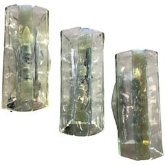 Mid-Century Modern Murano Sconces by Fratelli Toso in Clear and Opalescent Glass