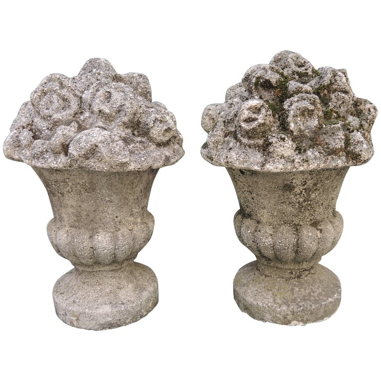 Pair of French Neoclassical Style Cast Stone Urns with Flowers