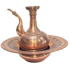 Middle Eastern Turkish Ewer and Copper Basin