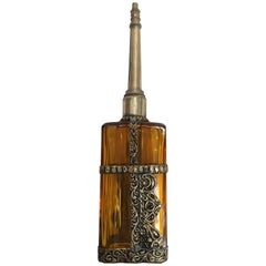Moroccan Glass Perfume Bottle with Embossed Silvered Metal Design Overlay
