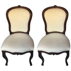 Two Beautiful White Piemonte Chairs, 19th Century