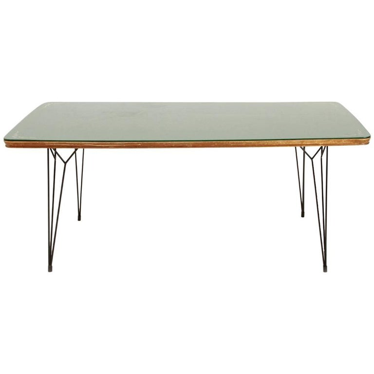 Italian dining table with glass top and metal legs at 1stdibs for Dining table with metal legs