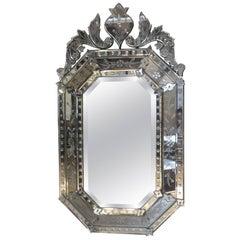 Hollywood Regency Octagonal Venetian Mirror Engraved w/ Chambord Center