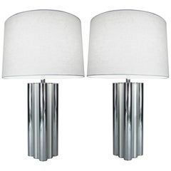 Pair of 1970s Chrome and Brushed Steel Tubular Lamps by Mutual Sunset