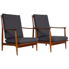 Pair of 1970s Teak Lounge Chairs