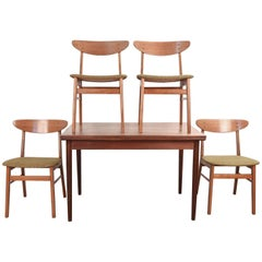Danish Midcentury Dining Table and 'Four' Farstrup Chairs
